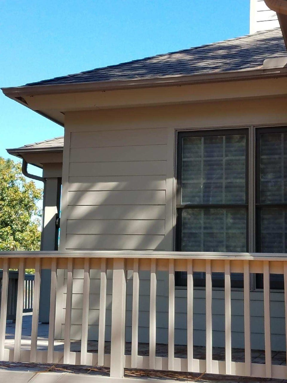 Freshly painted house and porch railing
